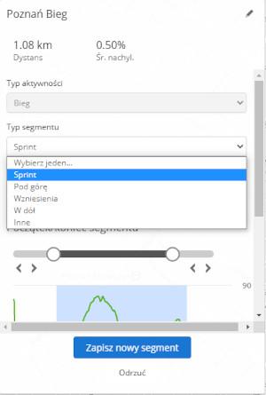 Tworzenie segmentów w garmin connect Typ Segmentu